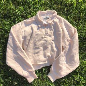 Hollister Cropped Cream Polo Sweatshirt